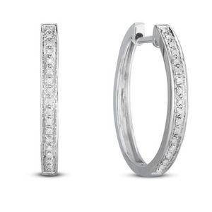 Jewelry - sterling silver 0.10 cttw diamond hoop earrings